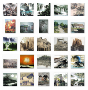 Chinese Houses and Landscapes Painting